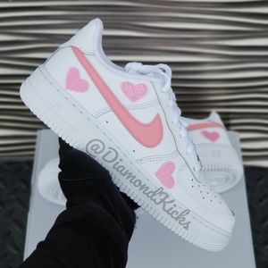 Custom Nike Air Force 1 Custom Hearts White Pink